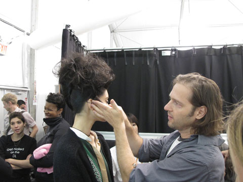 Peter Gray backstage at Badgley Mischka