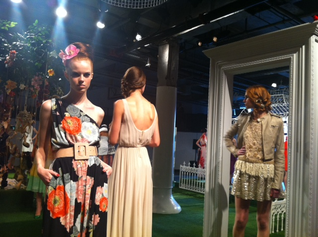 Models were arranged in a whimsical indoor garden