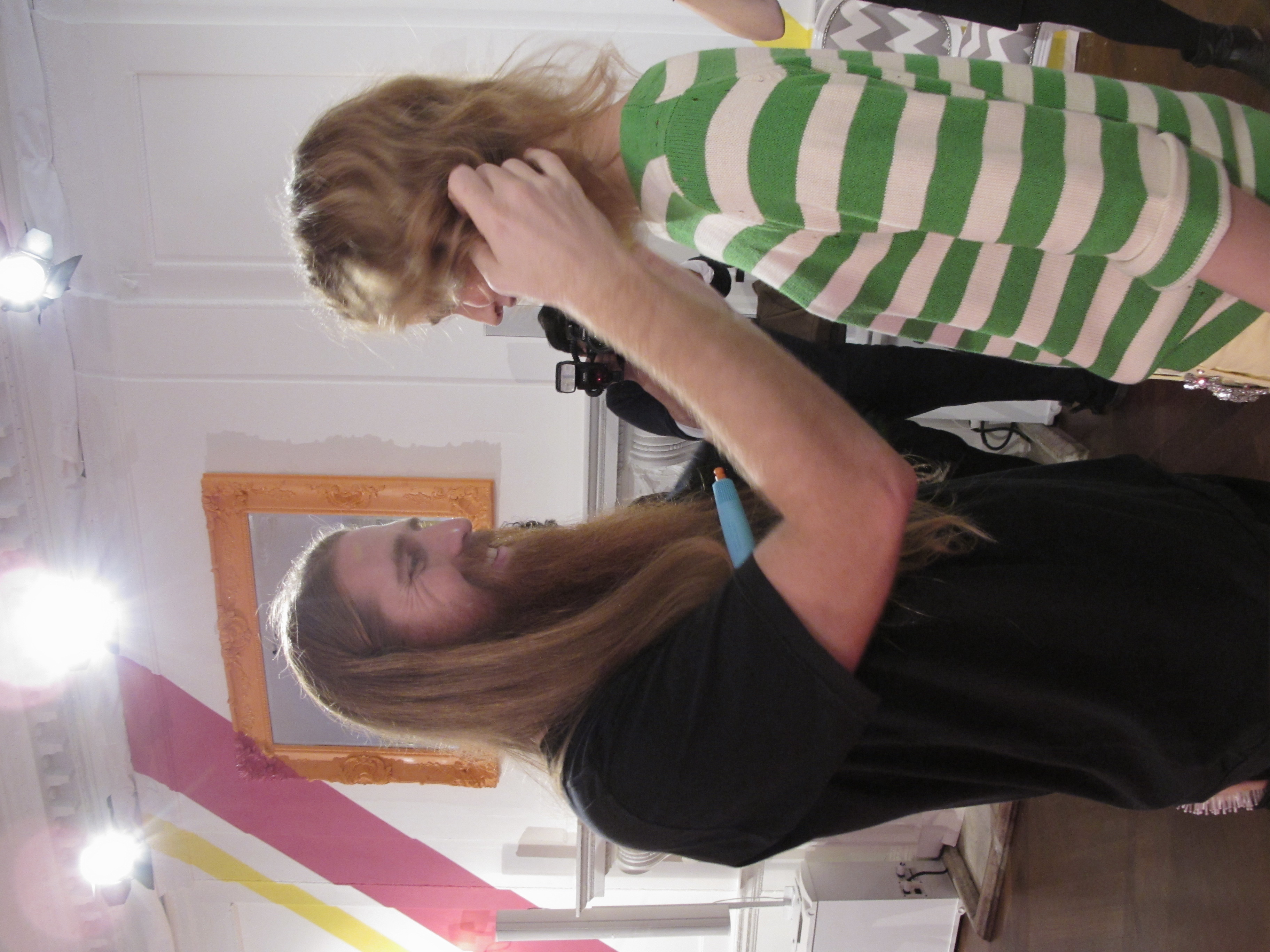 Lead stylist for Moroccanoil Duffy backstage at Juicy Couture's spring 2012 presentation