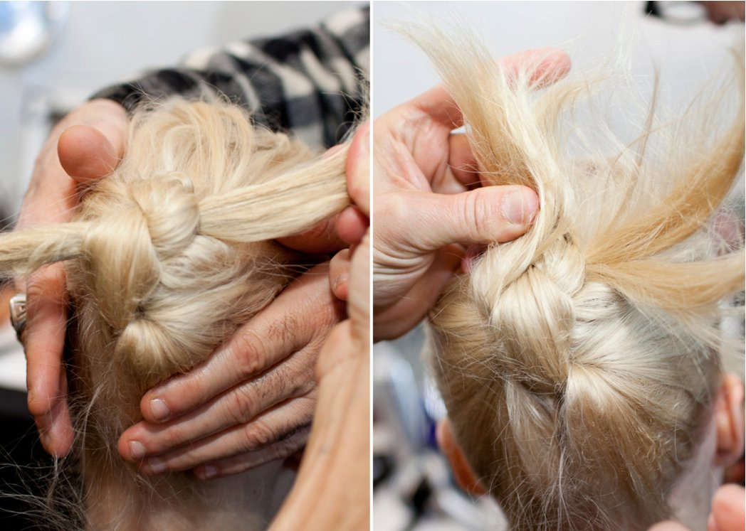 The Aveda team creates knots for the carefree updo