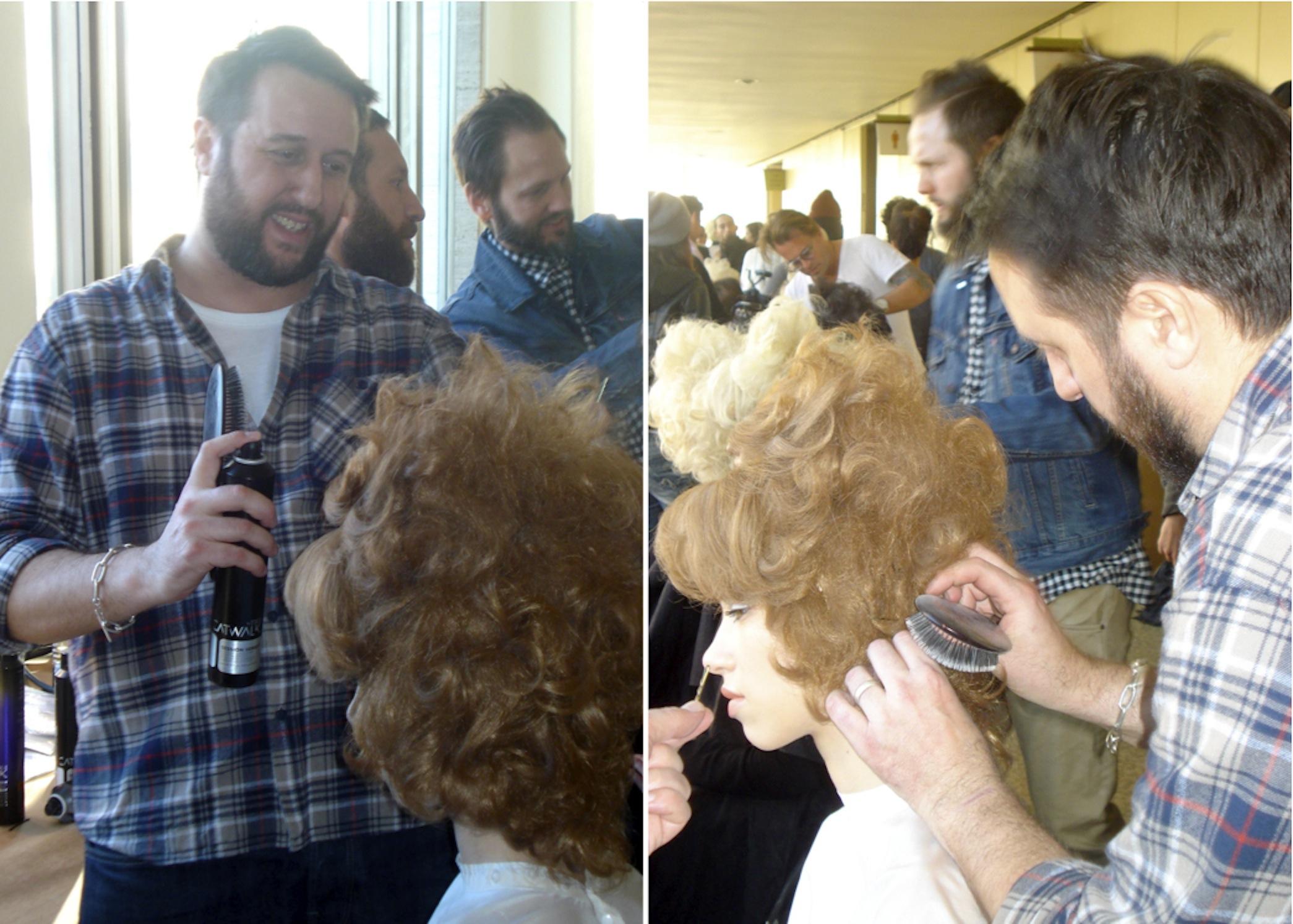 Nick Irwin, TIGI's European creative director, used acrylic wigs to create a deconstructed beehive