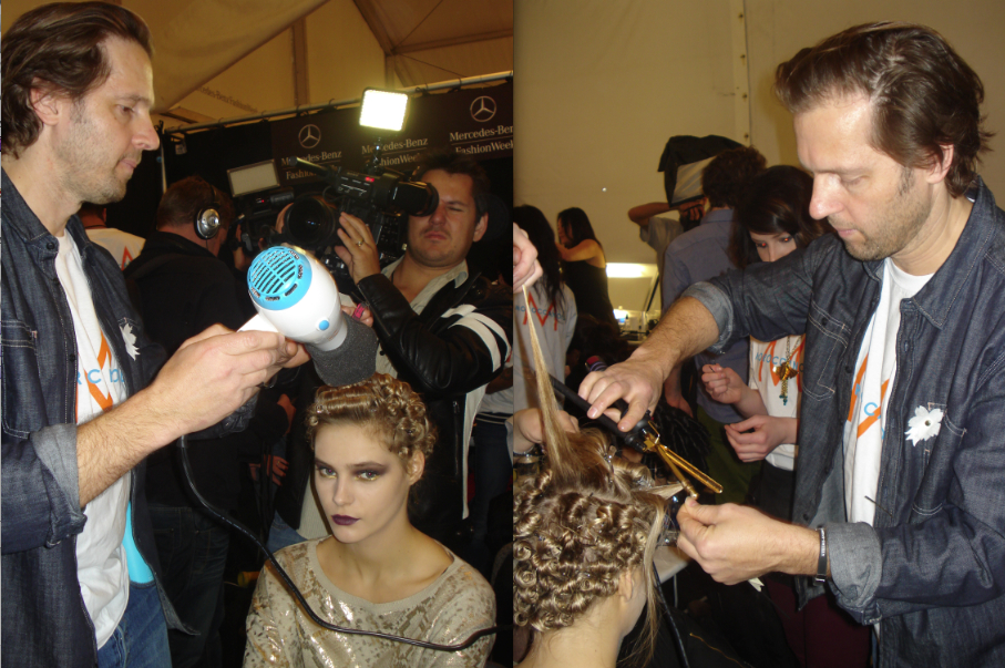 Peter Gray for Moroccanoil works backstage at Badgley Mischka