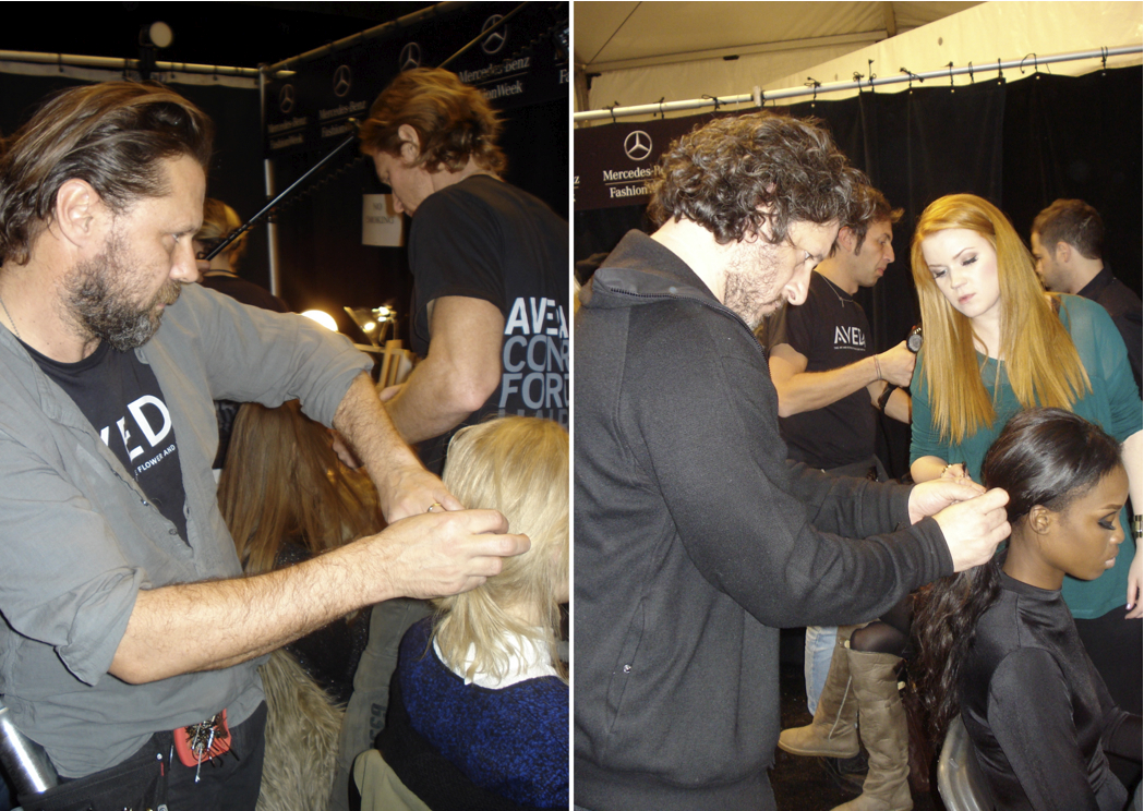 Kevin Ryan and Frank Rizzieri for Aveda work backstage at Tibi