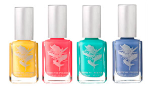 The Turkish Sorbet collection featuring Horned Poppy, Red Maple, Lungwort and Dayflower, surfaces right in time for spring and summer fever. Priti NYC's polish bottles are glass so they can be recycled through Chemwise via their website, and the company offers a 15 percent discount on future orders when bottles are recycled through the site. Each of Priti NYC's kits are packaged in a paper purse made of brown Kraft which is 100 percent recycled paper. The nail polish ingredients are free of toluene, formaldehyde, dibutyl phthalate and camphor.