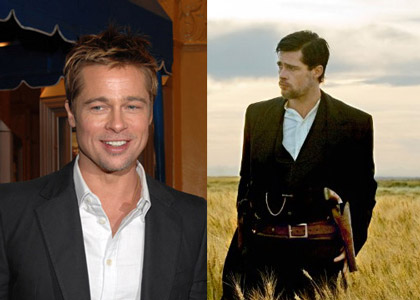 For The Assassination of Jesse James (2007), Stotts worked her magic after Brad Pitt's signature blonde locks (left) were darkened for this role. She brought in hairpieces and attached extensions here and there to help fill out the shape (right).