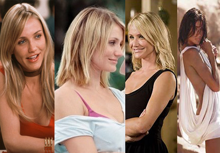 For Cameron Diaz's roles (from left) in The Sweetest Thing (2002), In Her Shoes (2005) and What Happens in Vegas (2008) Stotts added volume, length and a color change with extensions to Diaz's fine hair. For the W magazine photo shoot in December 2006, pictured far right, Stotts completely transformed Diaz's look with a brand new length, opposed to her typical short crop, more volume and a drastic color change from bright blonde to a dark chestnut brown.