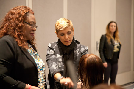 """The classrooms were at full capacity with many people spilling out in the hallway; hands-on workshops were also full, including Bravo TV's """"Shear Genius"""" star Dee Adames' workshop."""