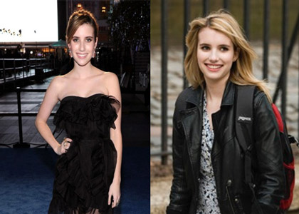 For The Art of Getting By (2011) Emma Roberts came in with a medium dark, layered bob (left), but her role required a longer and lighter style. Stotts achieved the look with extensions, blending colors together for the accurate hue and length (right).