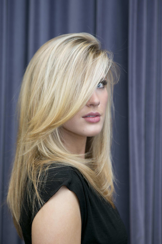 Blonde model after