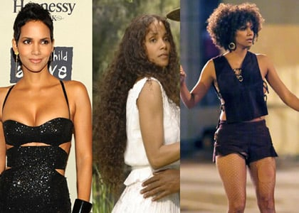 "From left: In Their Eyes Were Watching God (2005), Halle Berry ditched her iconic short hair for beautiful, curly locks that reached past her waist. For this look, Stotts attached custom natural curly hair to Berry's 1-inch natural hair to bring the length to 32 inches. Five years later in Frankie & Alice, Stotts transformed Berry's hair again from a shoulder length style to a classic Afro circa 1960s with the help of her team. ""To create the Afro I used two different lengths, and within the two different lengths there were shorter and longer blended lengths as well,"" Stotts explained. ""I steam-permed naturally curly hair into two different-sized curls and built the shape of the Afro with the extensions themselves."""