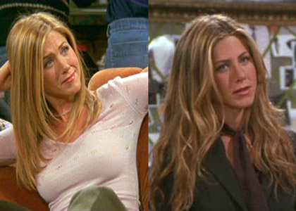 Sheila Stotts worked on the set of Friends with Jonathan Hanousek for nearly its entire 10-year run. For Jennifer Aniston's hair, Stotts would use custom finer hair for straighter styles (left) and for a longer wave style (right) Stotts would blend Great Lengths extensions over Aniston's real hair. For Courteney Cox, Stotts did many perms and occasional extensions for her character and for Lisa Kudrow's role she also applied many extensions and hairpieces.
