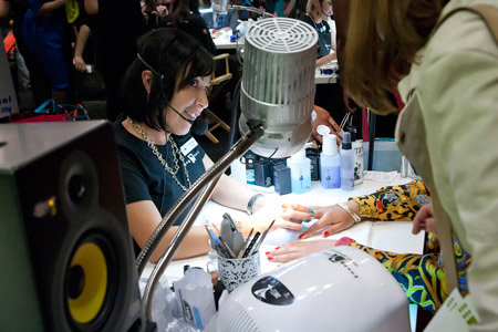The technicians at the Young Nails booth were talking nails non stop—lucky techs!
