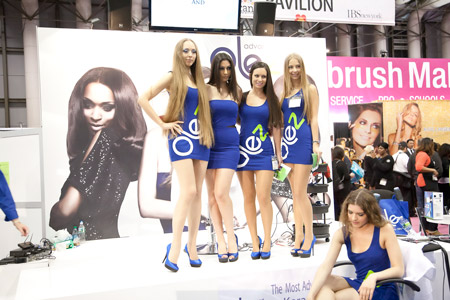 Models show off long, silky locks at the Olez Advanced Keratin booth.