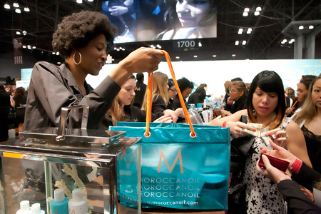The always busy Moroccanoil booth.