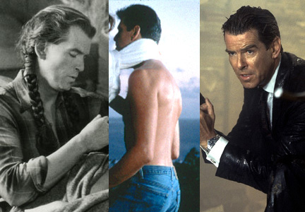 From left: For Grey Owl (1999) Stotts applied custom hand-picked gray hair and applied it throughout Pierce Brosnan's entire head, varying the pieces from 18 to 36 inches, long enough so he could wear his hair in braids for the role. A day before shooting the love scene between Brosnan and co-star Rene Russo in The Thomas Crown Affair (1999), a buzzers slipped and ruined the side of Brosnan's hair. To fix the problem, Stotts applied eyelash sized extensions to the side of his head to camouflage the patch. Stotts is also responsible for a vast majority of the classic hairstyles worn by Bronsan for his James Bond roles throughout the years.