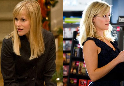 For Four Christmases (2008), pictured left, Stotts used extensions to change Reese Witherspoons' cut and color, transforming her dark, layered style into a lighter, A-line long bob with blunt bangs. For This Means War (2012), pictured right, Stotts gave Witherspoon nearly the same treatment, changing her medium bob by adding depth and dimensions, as well as color and layered lengths, with extensions.