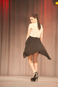 A lone model from Woody and Amy Michleb's main stage show gives a twirl with a beautiful perfect pony.