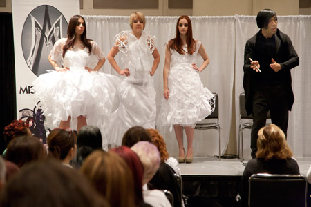 Professionals were able to choose from more than 150 inspirational and educational classes, with topics including haircoloring, cutting, extensions, natural nail maintenance, exotic manicures, eyelash enhancement and bridal makeup.  Here Misael Aponte in his class Art of Color and Movement.