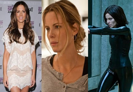"In Contraband (2012) film executives wanted Kate Beckinsale's hair to transform from brunette (far left) to blonde. After Beckinsale's hair was lightened, Stotts added extensions to give her a ""rooty"" vibe, as she says, with lighter tattered ends (middle). For Underworld (2003) and Underworld: Awakening (2012), pictured far right. Stotts ditched Beckinsale's brunette layered locks for a black/dark navy crop completed with extensions."