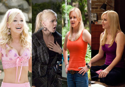 For Anna Faris' roles (from left) in House Bunny (2008), Observe and Report (2009), Yogi Bear (2010), and What's Your Number (2011), Stotts gave Faris thickness, length and a color change by applying extensions for each of the roles.