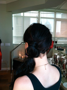 Hairdo extensions and clip-ins are all developed with True2Life Heat Styleable Hair and can be flat ironed, curled and blow dried. Or, as seen here on me, they can be used as is to easily transform a sleek bob into a bohemian funky side ponytail.