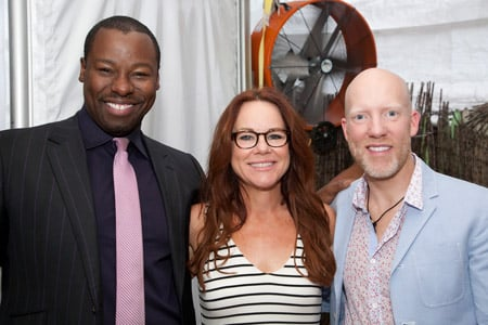 Hairstylist Ted Gibson and colorist Jason Backe enjoy the company of Pureology's Ruth Roche.