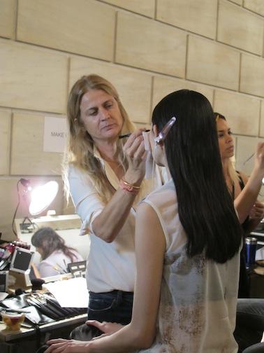 Makeup artist Diane Kendall backstage at Victoria Beckham
