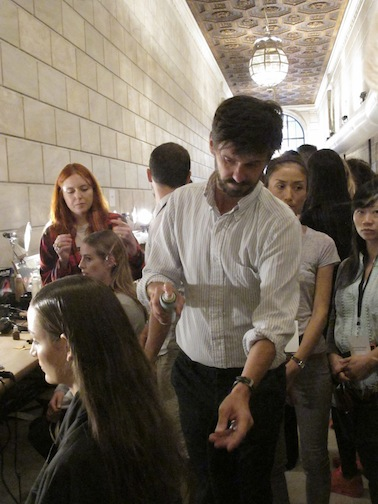 Redken Creative Consultant Guido backstage at Victoria Beckham