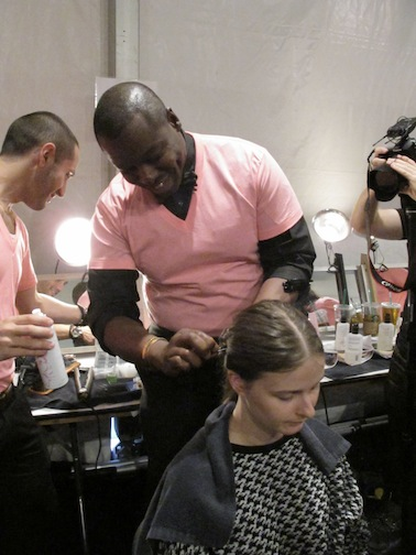 Ted Gibson backstage at Lela Rose