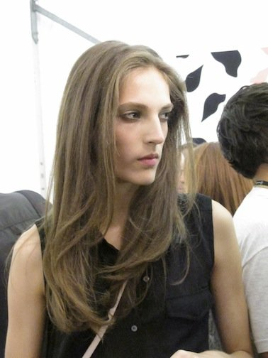 A finished look backstage at Diane von Furstenberg