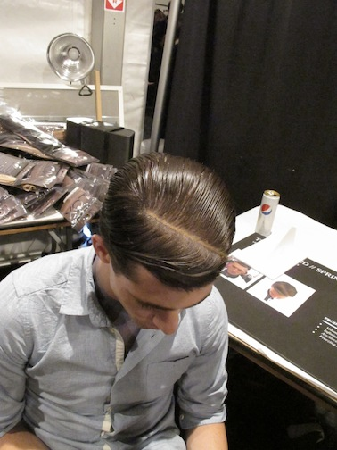 The men's look at Timo Weiland featured a diagonal part lined with a nude makeup pencil to evoke '90s rapper style.