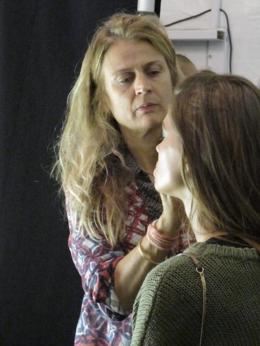 Diane Kendall, lead makeup artist for M.A.C, backstage