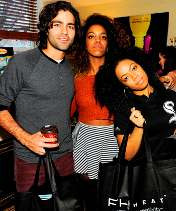 Actor Adrian Grenier and members of The Skins, drop by FHI Heat's booth.