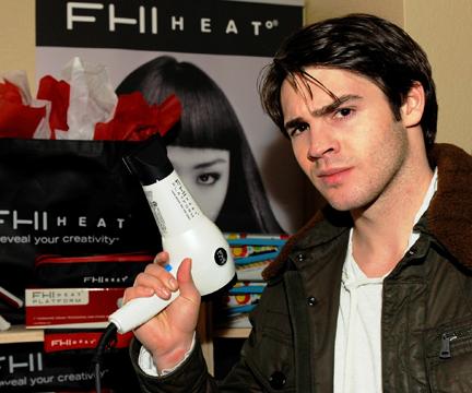 The Vampire Diaries' Steven McQueen tests a FHI Heat blow-dryer.