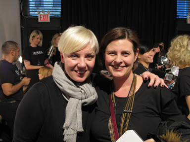 Aveda's Antoinette Beenders and American Salon's Lotus Abrams backstage at Christian Siriano