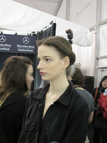 A finished hair and makeup look at Carolina Herrera