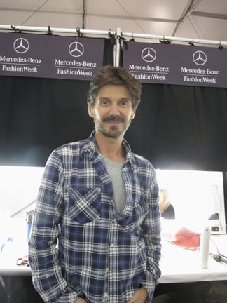 Redken Creative Consultant Guido backstage at Marc by Marc Jacobs