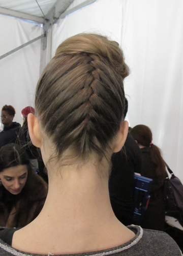 Braided updo by Peter Gray for Moroccanoil at Badgley Mischka