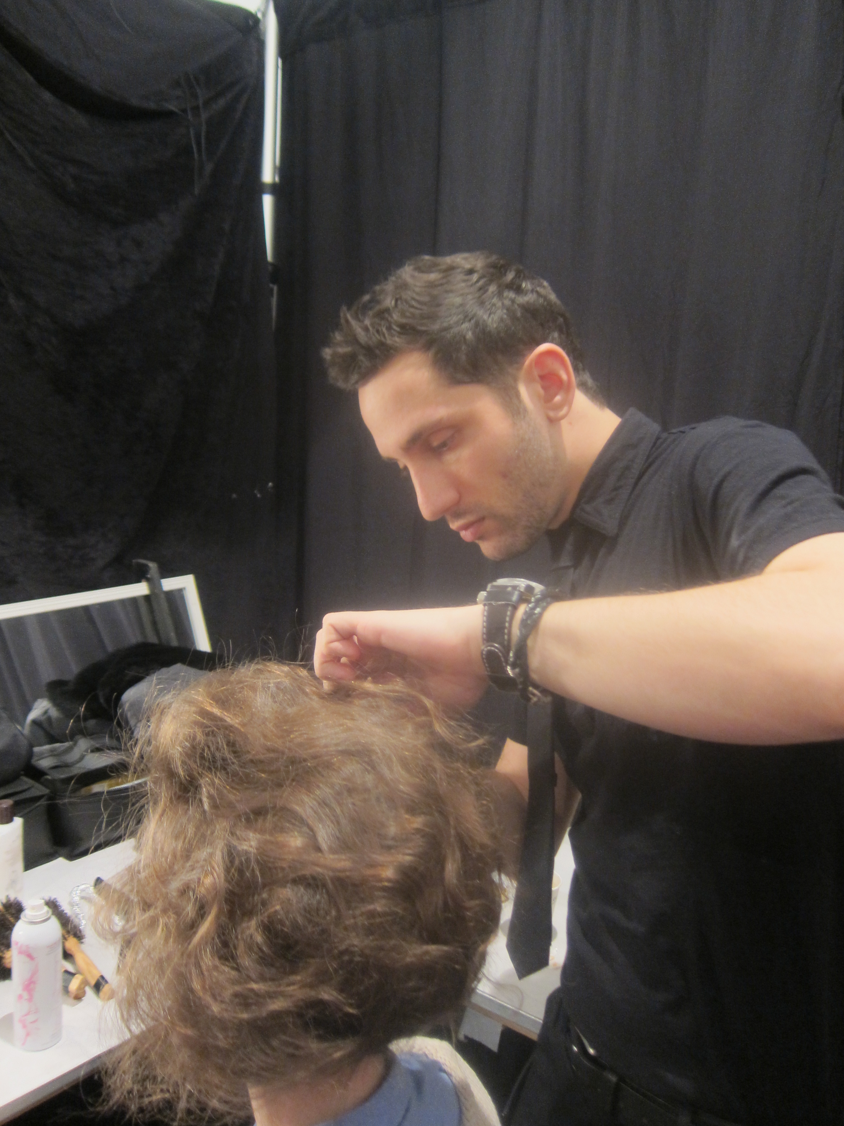 Devin Toth prepping the hair.