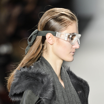 Finished hair with goggles. (Photo credit: TIGI/Alex Barron-Hough)