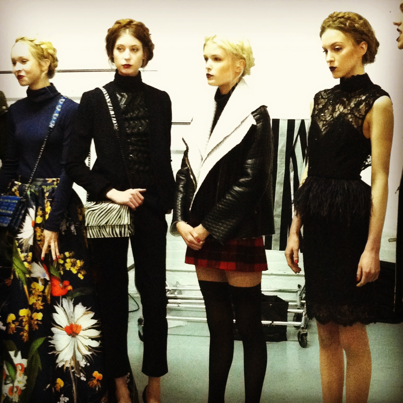 Models line up before the presentation