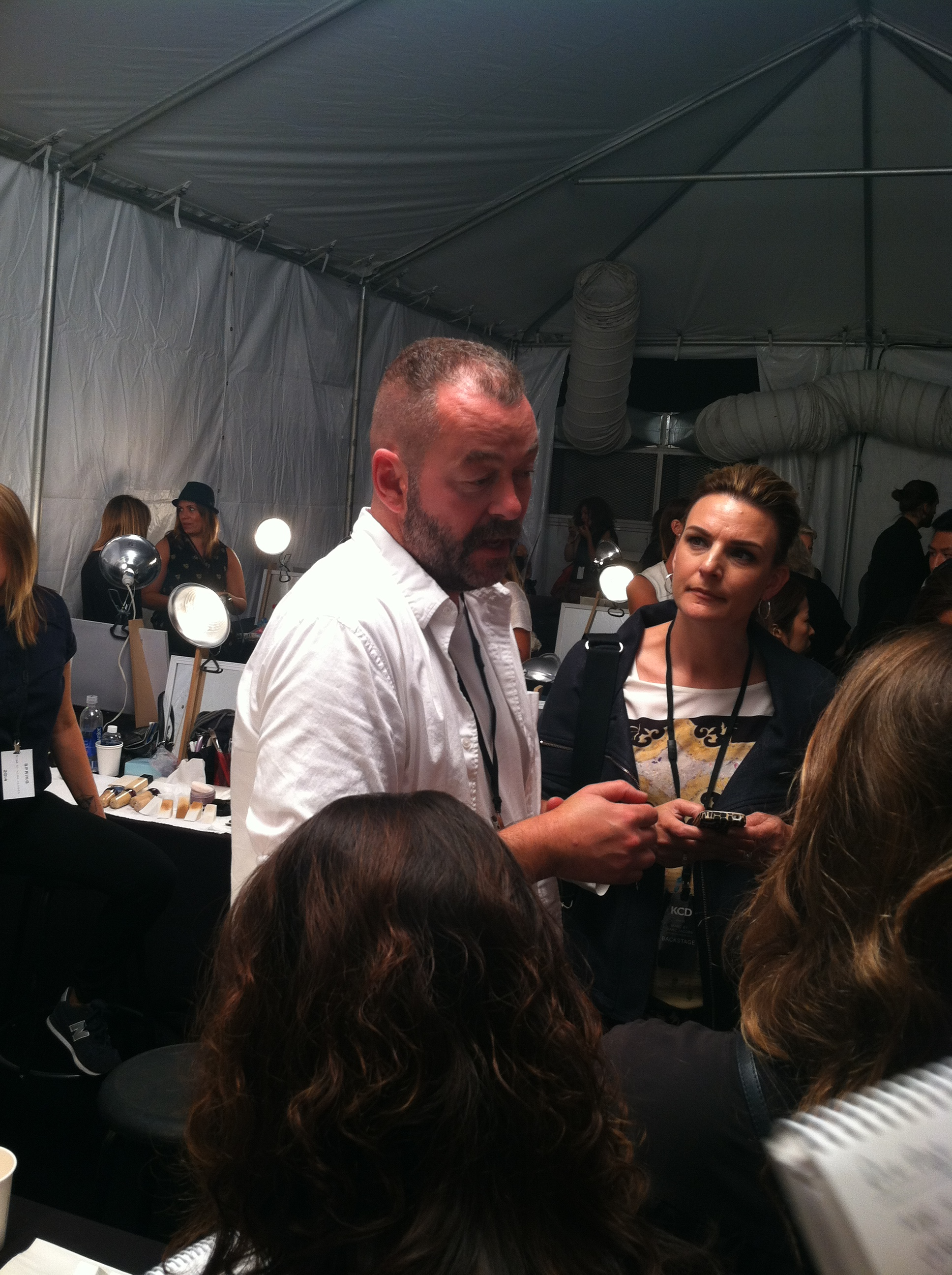 Shiseido Artistic Director Dick Page explaining the makeup look
