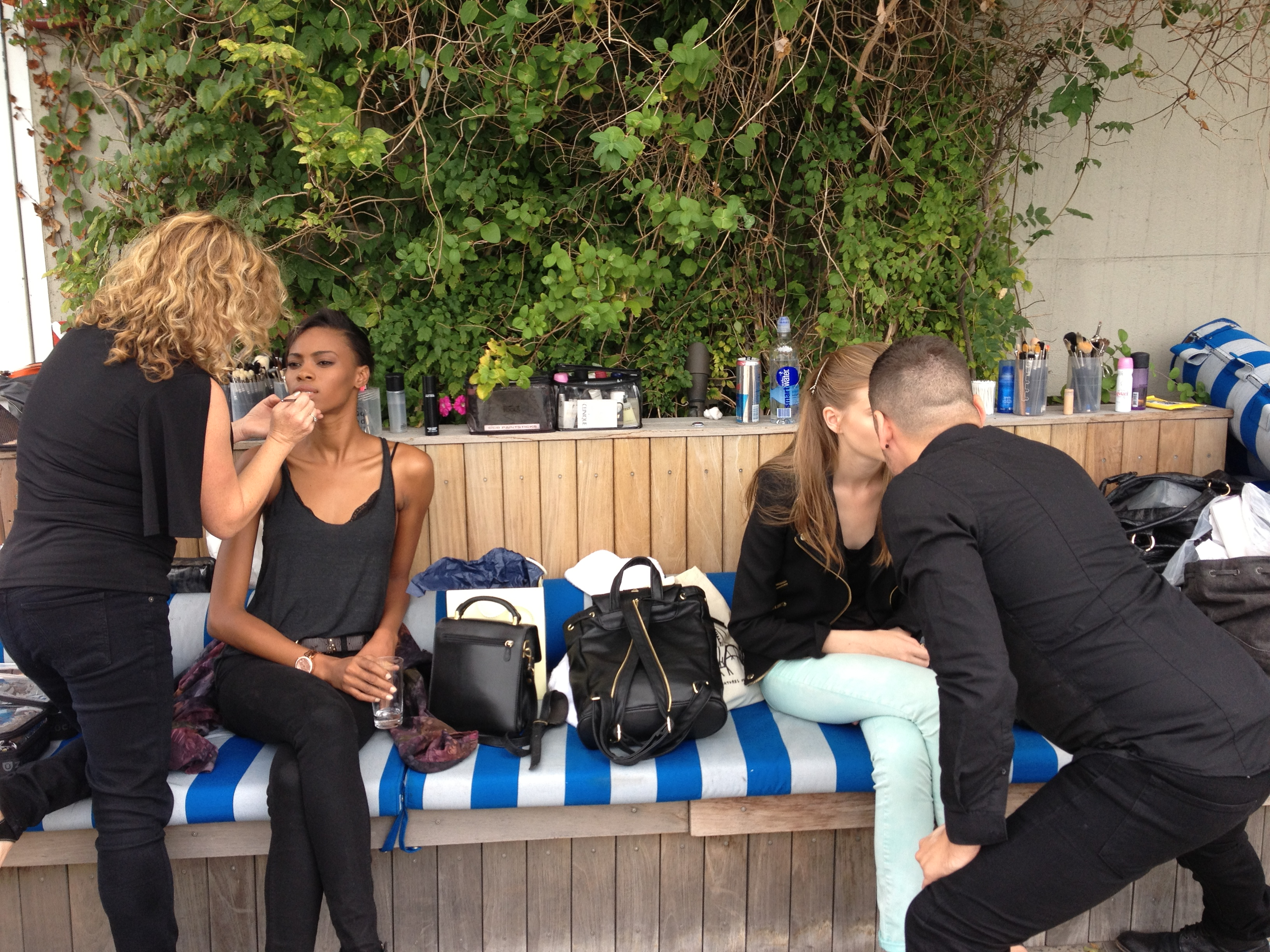 Makeup prep outside