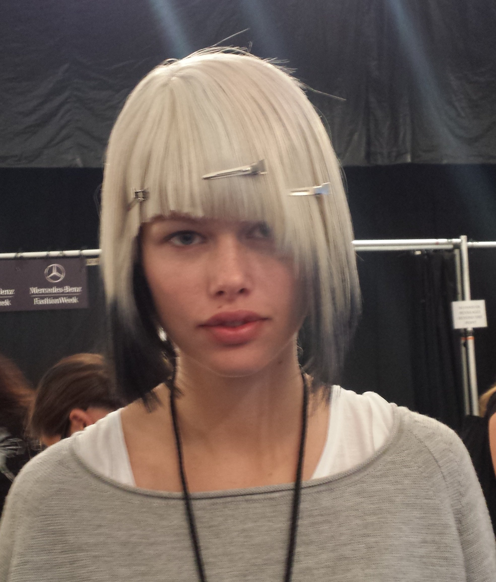 Ted Gibson creates a blonde inverted bob with black dip-dyed ends.
