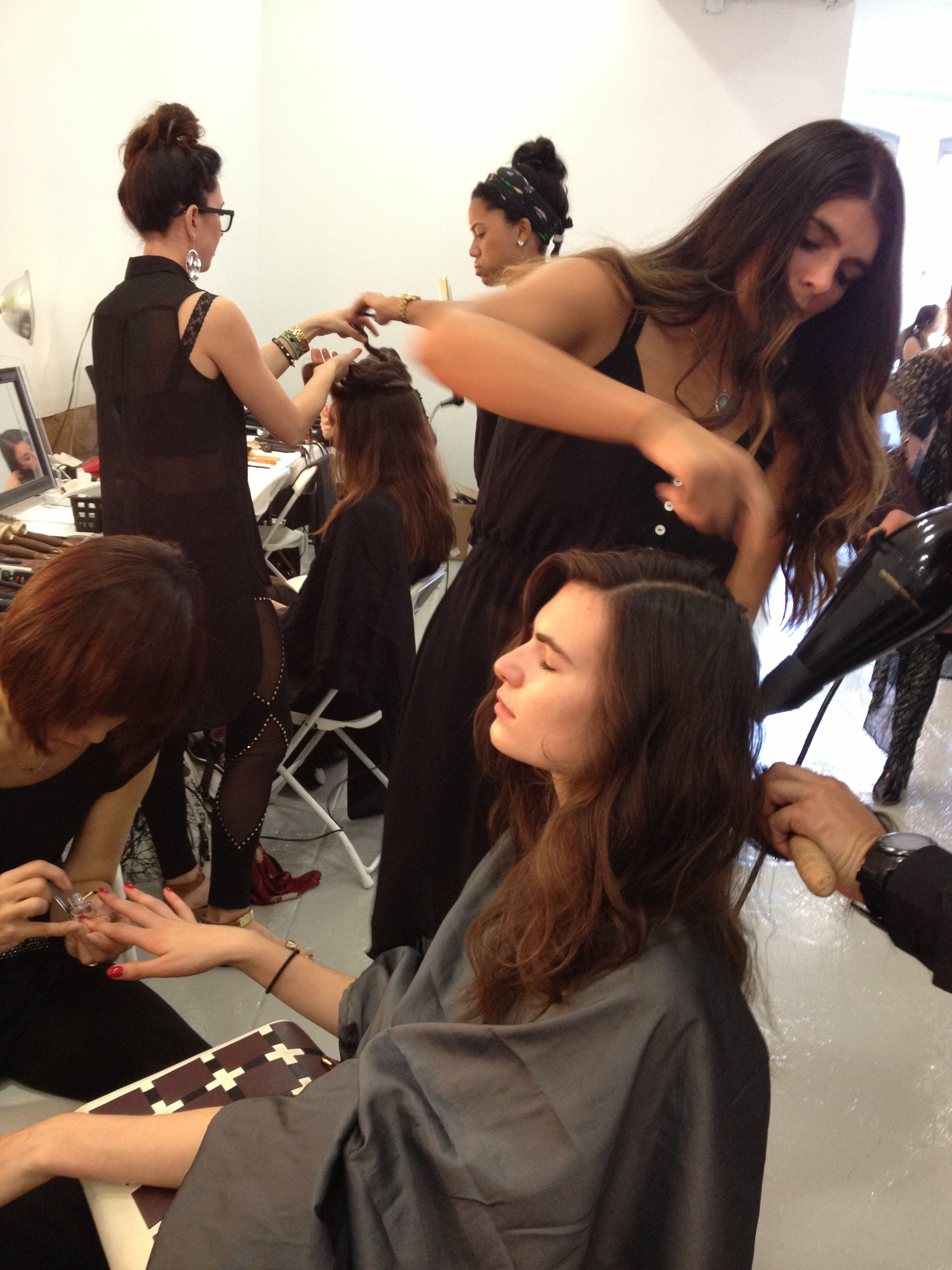 Hair is blow-dried with boar bristle brush