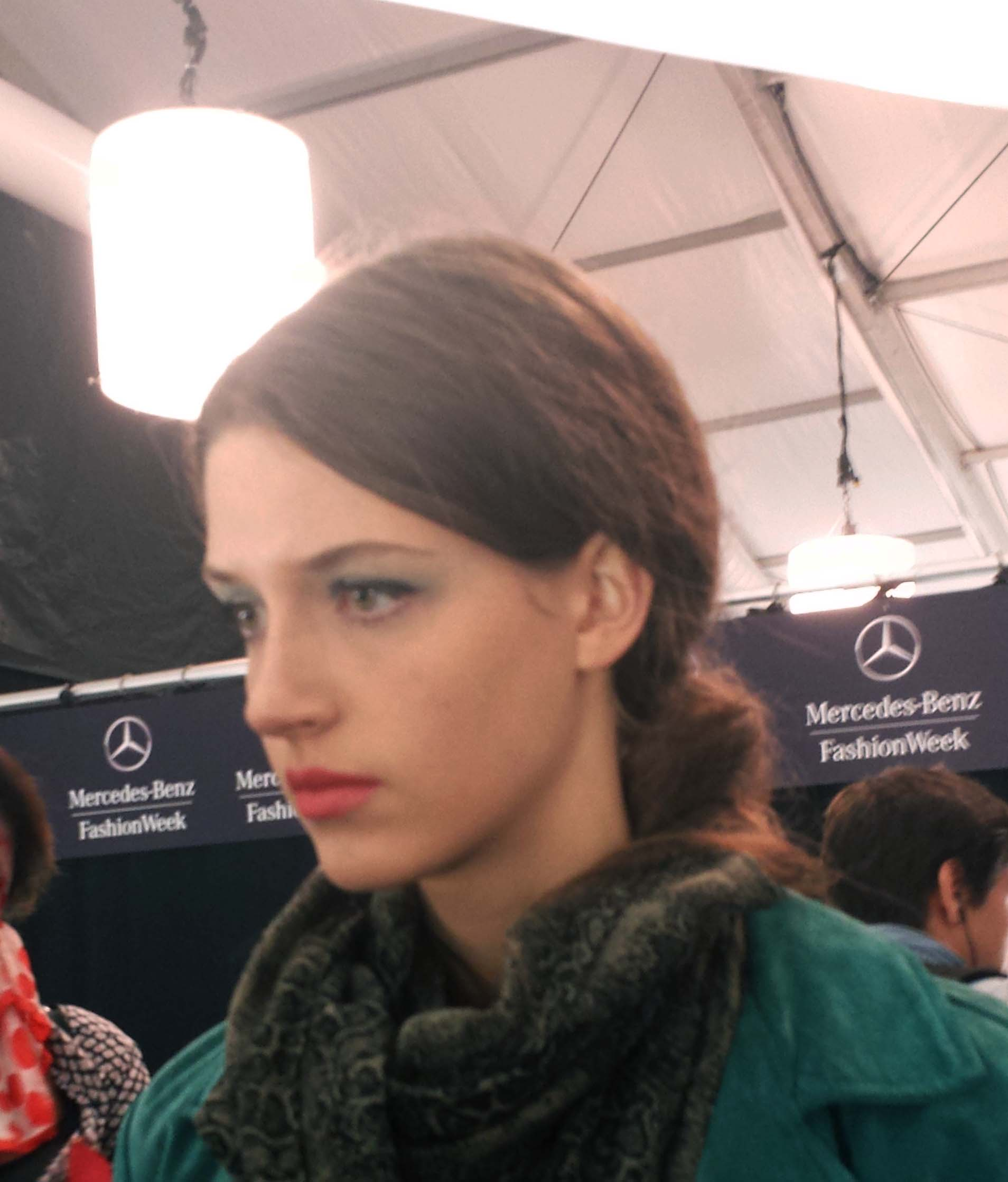 The make-up look on the model.