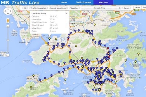 HK Traffic Live -- visualizes live traffic and weather info on Hong Kong map