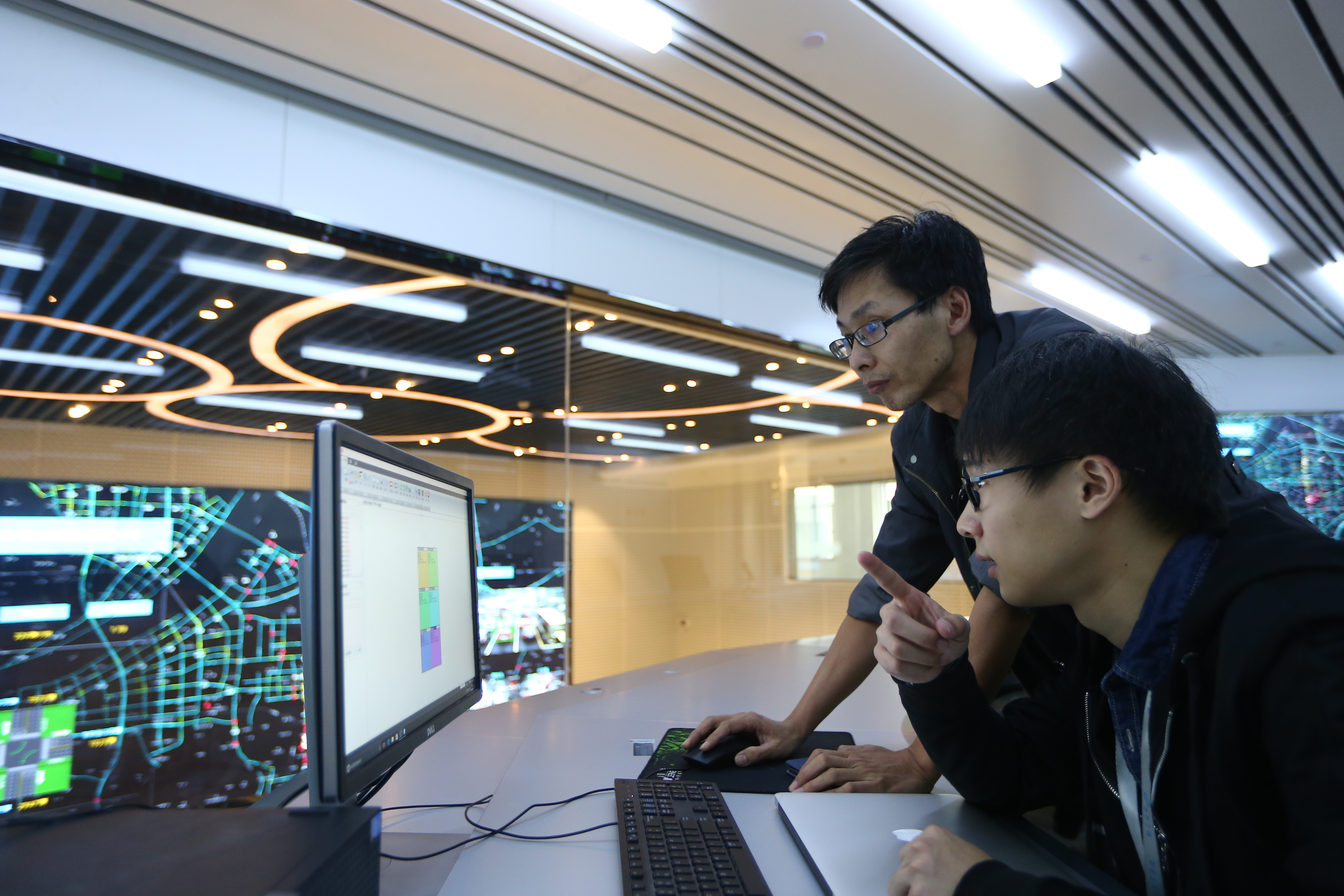 Alibaba's staff working at the Hangzhou City Brain control center