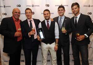 From left: Tony Abou-Ganim, The Modern Mixologist; Giles Woodyer, VP, Brand Managing Director; Christian Sanders,  Miami FL – W Hotel; Merlin Griffiths, Global Master Mixologist, Bombay Sapphire; Brett Fahlgren,  GQ Style Correspondent