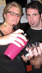 Guest bartender Finley West and Recovery Room owner Chris DiMattia.